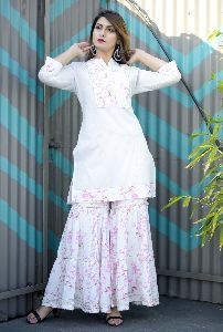 Rayon White Kurta Sharara Set