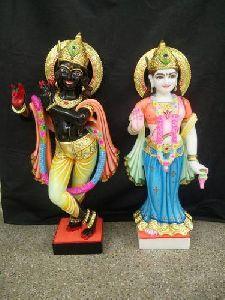 Black Marble Radha Krishna Statue