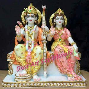 White Marble Ram Janki Statue