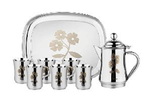 Steel Jug Glass & Tray Set