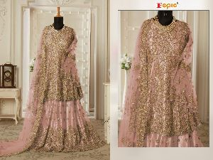 FEPIC ROSEMEEN PRESENTS TAIL KALI BUTTERFLY NET WITH HEAVY EMBROIDERY WORK PAKISTANI SUITS WHOLESALE