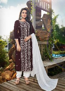 LAKHNAVI PURE MASLIN WITH EMBROIDERY WORK FANCY DESIGNER KURTIS