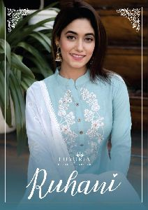 LUXURIA LAUNCHED RUHANI RAYON SLUB WITH FANCY EMBROIDERY WORK KURTIS WHOLESALE DEALER SURAT