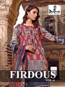 MAJESTY PRESENTS FIRDOUS VOL 4 JAM SILK COTTON WITH EMBROIDERY WORK SALWAR SUITS WHOLESALE DEALER SU