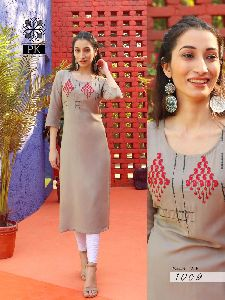 PK PRESENTS FASHION STAR VOL 1 HEAVY RAYON WITH EMBROIDERY WORK FANCY DESIGNER KURTIS WHOLESALE DEAL