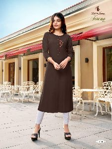 RAYON WITH EMBROIDERY WORK KURTIS