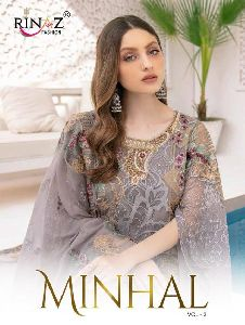 RINAZ FASHION LAUNCHED MINHAL VOL 3 FOX GEORGETTE WITH HEAVY EMBROIDERY WORK PAKISTANI SUITS