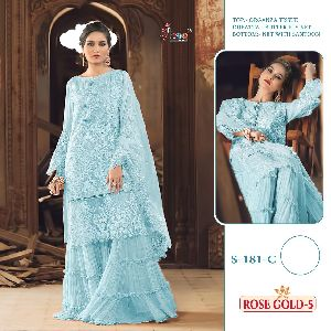 SHREE FAB LAUNCHED ROSE GOLD VOL 5 ORGANZA TISSUE WITH EMBRODERD NET PAKISTANI SUITS WHOLESALE DEALE