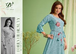 SOFT COTTON WITH KAHRA WORK FANCY DESIGNER KURTIS