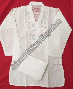 Boys White Kurta and Pyjama Set