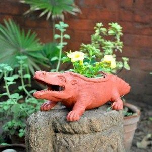 Terracotta Crocodile Planter