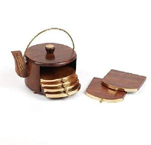 Wooden Kettle Shape Coaster Set