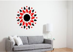 3D Acrylic Sunshine Black & Red Wall Sticker