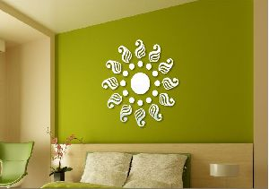 3D Acrylic Traditional Silver Mirror Wall Sticker