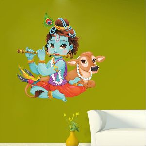 Lord Krishna Flute Playing With Cow Custom Wall Sticker