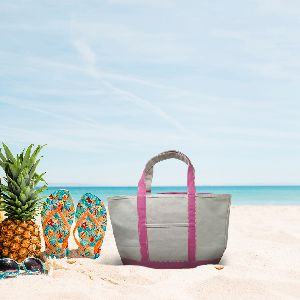 Must Buy Eco Friendly Pink Strap Shoulder Cotton Beach Bag