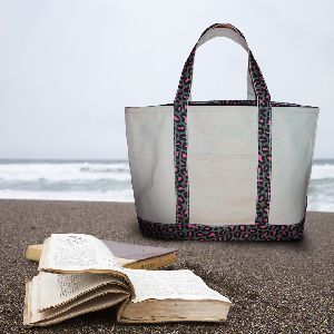 Outing White Thick Cotton Carry Beach Bag