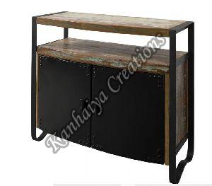 100x43x90 cm Solid Waste Wood and Iron Sideboard