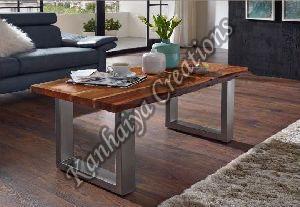 110cmx60cmx45cm Solid Acacia Wood and Iron Coffee Table
