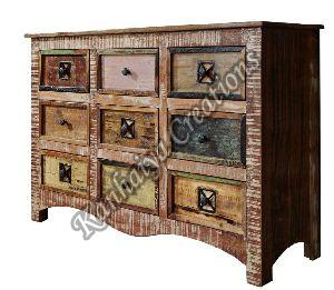 130x40x85 cm Solid Waste Wood and Iron Sideboard