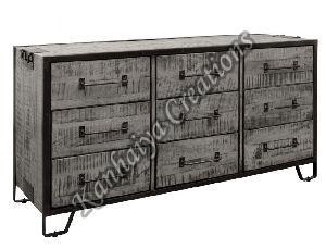150x45x80 cm Mango Wood and Iron Sideboard