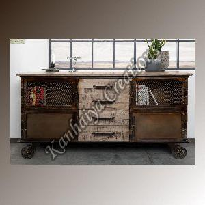 153x40x80 cm Mango Wood and Iron Sideboard