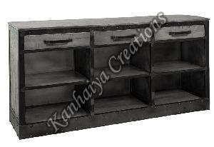 153x40x83 cm Mango Wood and Iron Sideboard