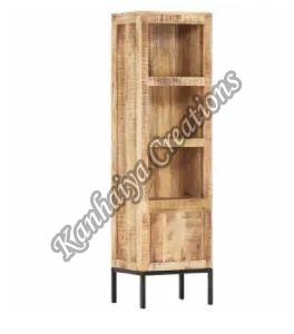 15x11.8x53.9 Inch Solid Mango Wood and Steel Storage Cabinet