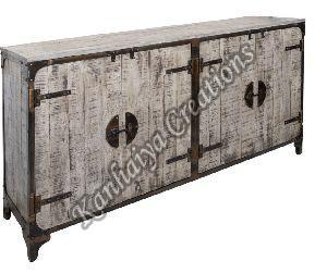 180x40x89 cm Solid Mango Wood and Iron Sideboard