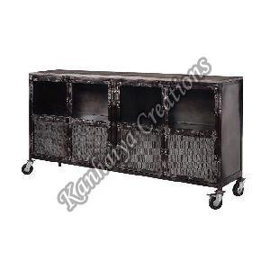180x40x90 cm Solid Mango Wood and Iron Sideboard