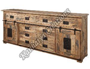 200x45x90 cm Solid Mango Wood and Iron Sideboard