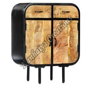 23.6x11.8x29.5 Inch Solid Mango Wood and Powder Coated Iron Storage Cabinet