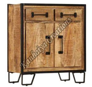 25.6x11.8x27.6 Inch Solid Mango Wood and Steel Storage Cabinet