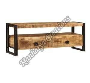 47.2x13.8x17.7 Inch Solid Mango Wood and Powder Coated Steel T.V Stand