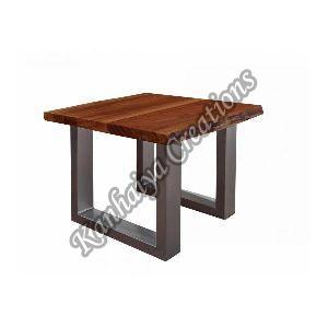 60cmx60x45cm Solid Acacia Wood and Metal Coffee Table