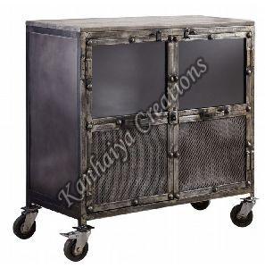 90x40x90 cm Mango Wood and Iron Sideboard