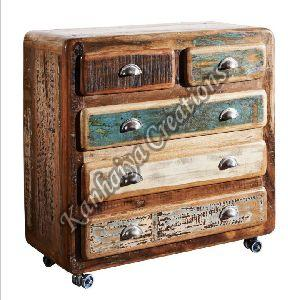 90x40x90 cm Solid Waste Wood and Iron Sideboard