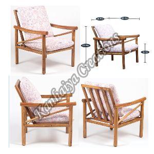Acacia Wood and Pink Fabric Chair