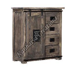 90x45x100 cm Mango Wood and Iron Sideboard