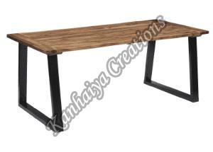 Oil Finish Solid Acacia Wood and Powder Coated Metal Legs Center Table