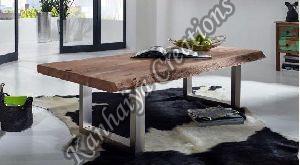 120cmx80cmx45cm Solid Acacia Wood and Iron Coffee Table