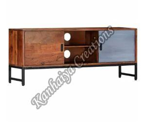 Solid Acacia Wood and Powder Coated Steel Legs T.V Stand