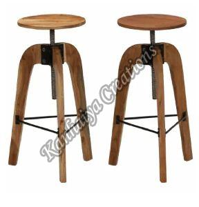 Solid Acacia Wood and Steel Stool