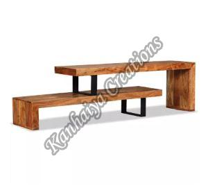 Solid Acacia Wood and Wrought Iron Legs T.V Stand
