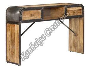 Solid Mango Wood and Iron Frame Storage Cabinet