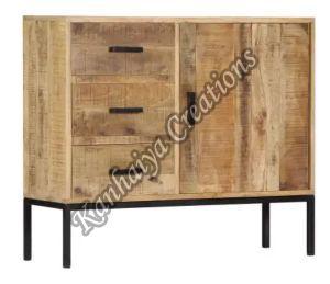 34.6x11.8x28 Inch Solid Mango Wood and Powder Coated Iron Storage Cabinet