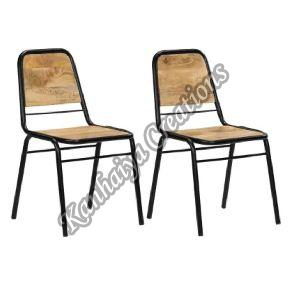 Solid Mango Wood and Powder Coated Steel Chair