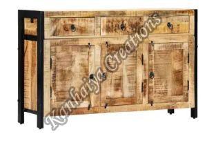 47.2x13.8x29.9 Inch Solid Mango Wood and Powder Coated Steel Storage Cabinet