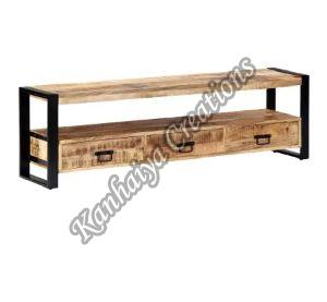 59.1x 11.8x17.7 Inch Solid Mango Wood and Powder Coated Steel T.V Stand