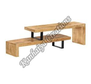 Solid Mango Wood and Wrought Iron Legs T.V Stand